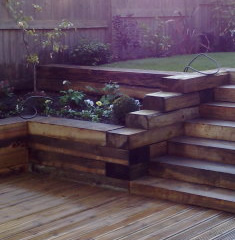 Garden with sleepers showing as retaining wall and sleepers being used as steps